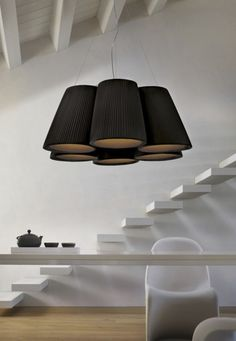 Florinda is a hanging and ceiling lamp comprising multiple hand pleated lamp shades of a classical truncated cone shape. It is a contemporary and informal lamp, Home Interior, Modern Interior, Interior Architecture, Interior And Exterior, Interior Decorating, Interior Design, Interior Lighting, Home Lighting, Lighting Design