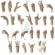 Dedo ortografía el alfabeto en lenguaje de signos estadounidense (ASL) Foto de archivo