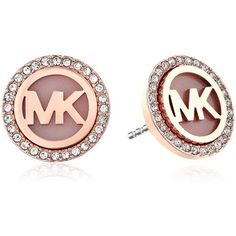 Michael Kors MK Logo Stud Earrings ($75) ❤ liked on Polyvore featuring jewelry, earrings, logo jewelry, michael kors, studded jewelry, pave jewelry and rose gold tone earrings