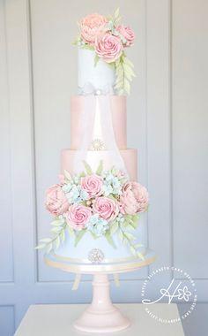 Luxury wedding cakes & dessert tables in Hampshire & beyond English Country Garden Wedding Cake, pink and blue wedding cake,. Pastel Wedding Cakes, Cool Wedding Cakes, Elegant Wedding Cakes, Wedding Cake Designs, Wedding Cupcakes, Trendy Wedding, Tier Wedding Cakes, Pastel Blue Wedding, Wedding Flowers