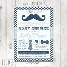 Set of 12 Personalized Blue and Gray Mustache Lil Man Baby Shower Invitations with Bowtie, Chevrons and Polka Dots by HeadsUpGirls, $18.00