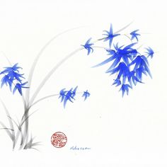 """Soft Blue Flowers"" Chinese Painting by Rebecca Rees Sumi E Painting, Chinese Painting, Chinese Art, Watercolor Paintings, Watercolors, Crayon, Asian Art, Blue Flowers, Original Art"