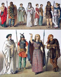 Ancient British, Gallic and German Costumes. Costume of the Gauls and Britons. Ancient Costumes History B. Celtic Costume, Celtic Clothing, Celtic Dress, German Costume, Celtic Warriors, Female Warriors, Germanic Tribes, Celtic Art, Celtic Dragon