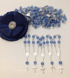 50 pcs Blue First communion favors Recuerditos Bautizo / Mini Rosary Baptism Favors 50 pcs $25.99
