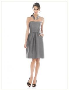 Grey Mercury Strapless Short Bridesmaid Dress (G129)