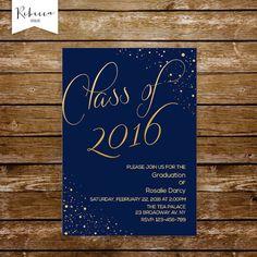 graduation invitation graduation party invitation navy and gold invitation high school grad invitation university class of prom invitations by RebeccaDesigns22 on Etsy