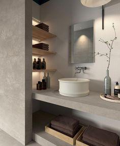 45 Unique Tadelakt Bathroom Design Ideas For Awesome Bathroom White Bathroom Tiles, Grey Bathrooms, Bathroom Colors, Bathroom Sets, Bathroom Flooring, White Tiles, Light Bathroom, Grey Tiles, Luxury Bathrooms