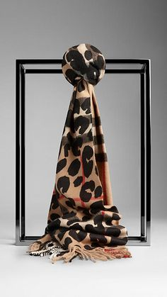 Burberry Camel Check Animal Print Check Cashmere Scarf - Soft check cashmere scarf overprinted with a distinctive animal print. Fringing at both ends. Discover the scarves collection at Burberry.com