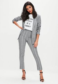Grey Checked Tailored Cigarette Trousers