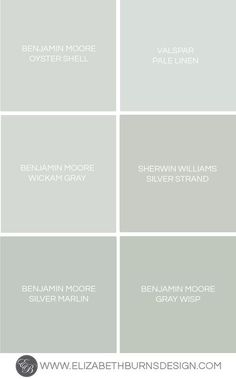 Like Valspar Pale Linen and Sherwin Williams Silver Strand. Also shows Benjamin Moore Oyster Shell, Wickam Gray, Silver Marlin, Gray Wisp Blue Green Paints, Green Paint Colors, Interior Paint Colors, Paint Colors For Home, Room Colors, House Colors, Wall Colors For Bedroom, Spa Paint Colors, Silver Grey Paint