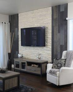 Mur de pierre encardement tv magnifique | SALON | Pinterest | Salons ...
