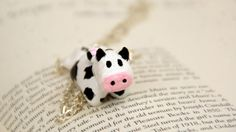 Cute Cow Necklace Handmade from Polymer Clay by GabiAndAsia, $14.00