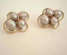Bezel set Pearl Earring Cluster on beaten sterling silver and vermeil highlights