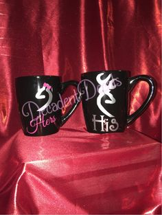 A personal favorite from my Etsy shop https://www.etsy.com/listing/256193139/set-of-2-his-and-hers-coffee-mugs-12oz