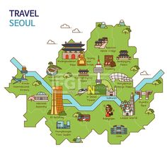 Travel and Trip infographic Stock Vector Infographic Description City Tour,travel Map Illustration - Seoul City, South Korea Royalty Free Cliparts, Seoul Korea Travel, Seoul Map, South Korea Seoul, Korea Map, Bukchon Hanok Village, Map Layout, Travel Maps, Travel City, Travel Logo