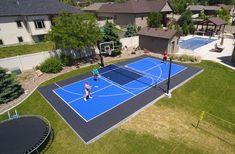 Gallery of backyard court and home gym installations featuring SnapSports Backyard Plan, Backyard Pool Designs, Backyard Playground, Backyard For Kids, Outdoor Basketball Court, Backyard Tennis Court, Casa Kardashian, Backyard Sports, Deco Studio