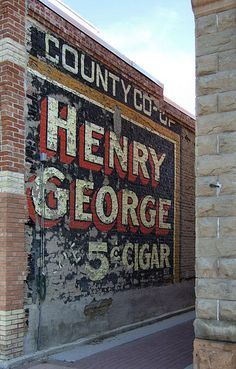 Henry George Ghost Sign to be found in Mount Pleasant, Utah, USA