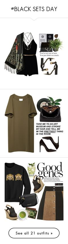 """""""#BLACK SETS DAY"""" by lolgenie ❤ liked on Polyvore featuring Wilfred, Topshop, Kite and Butterfly, Chloé, Quay, Ethan Allen, Maison Margiela, Fendi, MICHAEL Michael Kors and nastydress"""