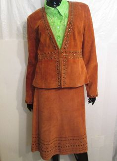 In Suede Studded Leather Lined Skirt Suit  Milano Blouse Top  LG & XL  3 Pc. Lot #InSuede #SkirtSuit