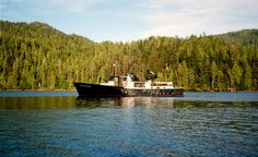 A large black boat, traveling up the shoreline, with forest hills in the background. - Wilderness: South Prince of Wales Wilderness Description: Tongass ranger boat, used as field crew camp for wz monitoring.