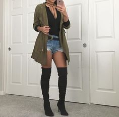 Thigh high boots outfit by Jio Summer Boots Outfit, Fall Winter Outfits, Spring Outfits, Winter Boots, Thigh High Outfits, Thigh High Boots Outfit, Short Boots Outfit, High Boot Outfits, Over The Knee Boot Outfit Night