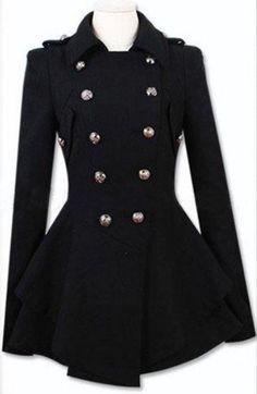 Abrigo de lana doble botonadura-Negro EUR€59.78