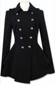 Black Military Double Skirt Hem Woolen Coat