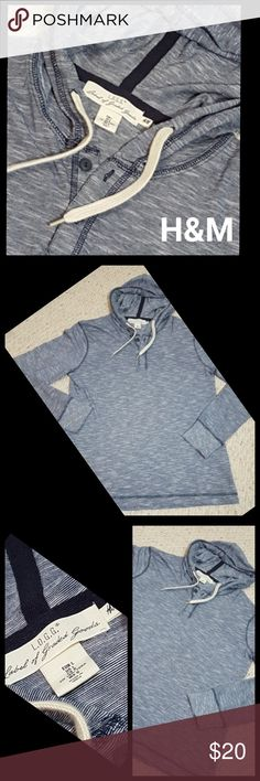 """Mens H&M Hooded Pullover Mens Hooded pullover  Excellent Condition,  any color fluctuations is just the camera.  Blues and white....perfect condition  100% Cotton  Approximately  27"""" in length  22"""" underarm to underarm  22"""" arm inseam  No Trades  Bundle and save H&M Shirts Sweatshirts & Hoodies"""