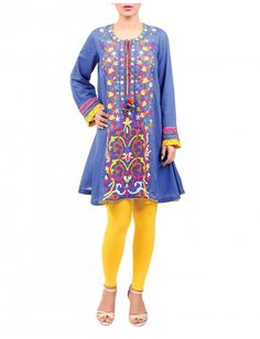 Glitzy cambric short frock with resham and wool thread embroidery is stylishly perfect for the season.
