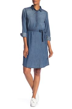 Long Sleeve Side Tie Dress by Joe Fresh on Tie Dress, Shirt Dress, Joe Fresh, Nordstrom Dresses, Nordstrom Rack, Collars, Product Launch, Dresses With Sleeves, Long Sleeve