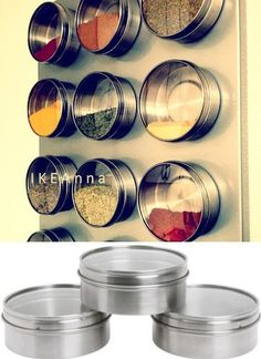 IKEA Grundtal Magnetic Containers Tin w Lid 3pk Wall Spice Jars Stainless Steel | eBay