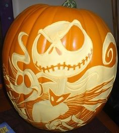Nightmare Before Christmas Jack Skellington Zero Hand Carved Pumpkin MUST SEE!   the Nightmare Before Christmas Collectionary