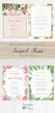 Beautiful selection of Tropical themed Invitations, perfect for a location wedding or a Hawaiian baby Shower. Only at Serendipity Paperie