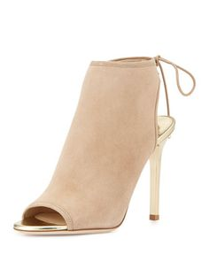 Froze Suede Tie Bootie, Nude/Champagne by Jimmy Choo at Bergdorf Goodman.