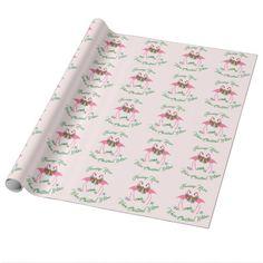 Flamingo Kisses Warm Christmas Pink Gift Wrap