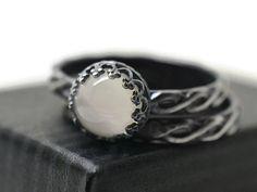 Moonstone Wedding Set Black Engagement Ring Natural White