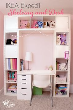 Genius shelving unit and desk using an IKEA Expedit. Perfect storage solution…