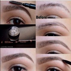 "Brow Routine for over tweezed or sparse eyebrows by IG lizybbymuaz Using #Anastasia Beverly Hills products. Step 1 Use BROW WIZ pencil ""Soft Brown"" outline the top and bottom of the brow in your ideal shape Step 2 Fill inside the outline using quick upward movement with the pencil. This application is softer and mimics eyebrow hairs. Step 3 For extra intensity you can add BROW POWDER in ""brunette"" to entire brow."