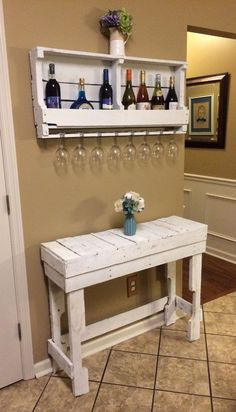Wine Rack Pallet Wood White by RusticReinventedLex on Etsy
