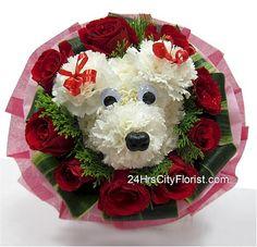 puppy bouquet at  http://www.24hrscityflorist.com/puppy-love.htm