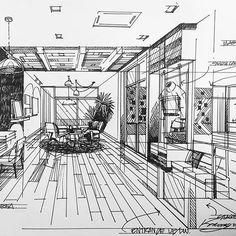 #loftstyle #sketchdesign #interiordesign Interior Design Sketches, Interior Rendering, Sketch Design, Architecture Drawings, Architecture Design, Perspective Sketch, Interesting Drawings, Interior Design Presentation, Architect Drawing