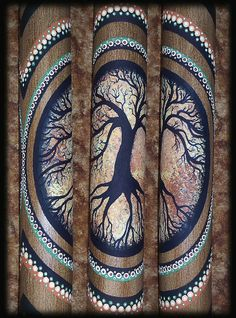Didgeridoo hand made painted with a tree motif by MoondropsArt, $75.00