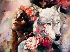 Art And Illustration, Wolf Painting, Diy Painting, Painting & Drawing, Painting Inspiration, Art Inspo, Dimitra Milan, Kunst Online, Art Manga