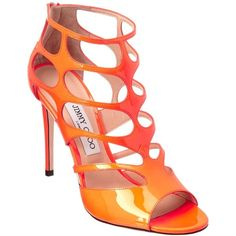 JIMMY CHOO Ren 100 Neon Cage Patent Sandal, 38.5, Orange (2.145 BRL) ❤ liked on Polyvore featuring shoes, sandals, cage, cut out, cutout, heels, wide width shoes, orange shoes, orange sandals and cut out sandals