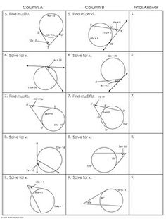 30 Angles And Segments In Circles Worksheet - Free ...