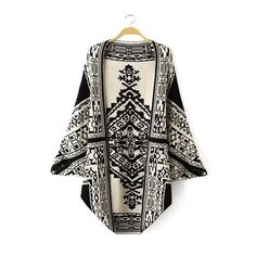 Yoins Totem Pattern Cardigan ($33) ❤ liked on Polyvore featuring tops, cardigans, black, shirts & tops, batwing sleeve cardigan, batwing sleeve shirt, bat sleeve tops, cardigan shirt and cardigan top