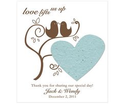 Love Bird Plantable Favor Tags are made using seed paper, which is embedded with high quality wildflower seeds that will grow when planted. Wedding Themes, Wedding Favors, Our Wedding, Wedding Ideas, Wedding Symbols, Informal Weddings, Seed Paper, Wildflower Seeds, Personalized Favors