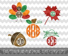The Fall/Thanksgiving Monogram Decal Files are for use with your Silhouette Studio Software or other programs that can read .dxf/.svf/.eps
