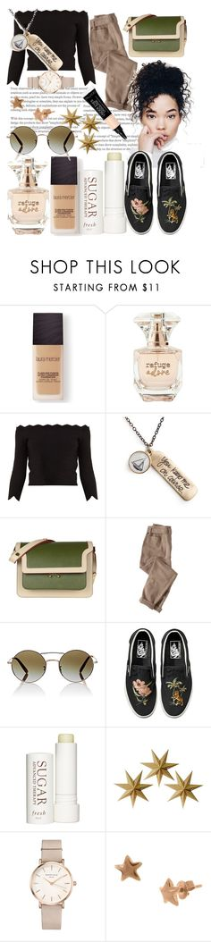 """""""Silent Beauty"""" by indiagrace2904 ❤ liked on Polyvore featuring Laura Mercier, Refuge, Alexander McQueen, Chart Metal Works, Marni, Wrap, Oliver Peoples, Vans, Therapy and LumaBase"""