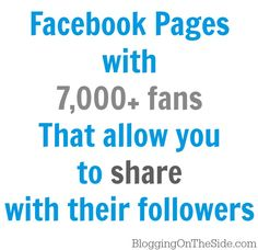 Large Facebook Pages That Allow Daily Shares {7k  followers}